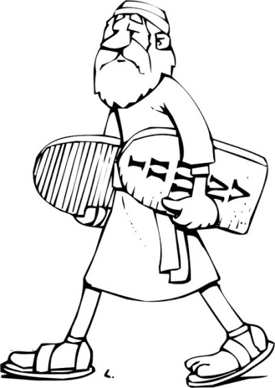 Moses carrying 10 Commandments free coloring page