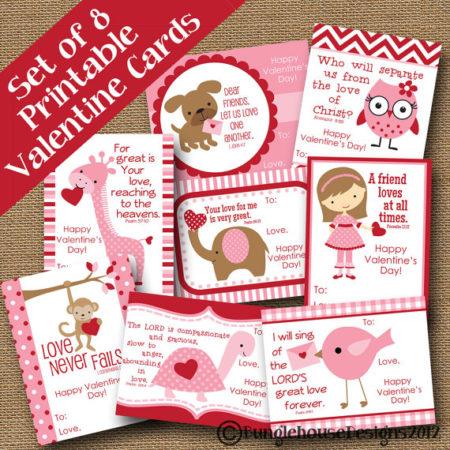 8 Digital download Christian Girls Valentines day cards