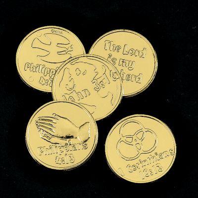 Sunday school scripture quote coins rewards