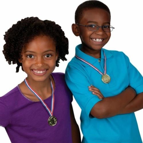 Sunday school reward medals on ribbon necklace
