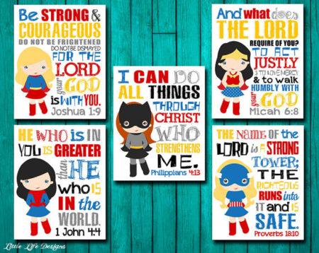 5 Digital Religious Girls superhero art prints