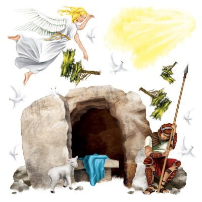 Sunday school Easter Resurrection story back ground scene