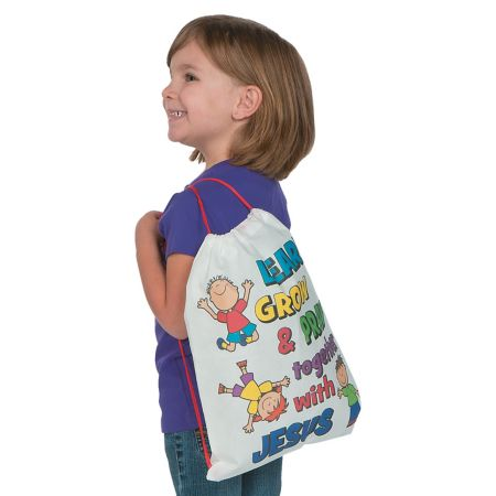 Religious color a school drawstring bag