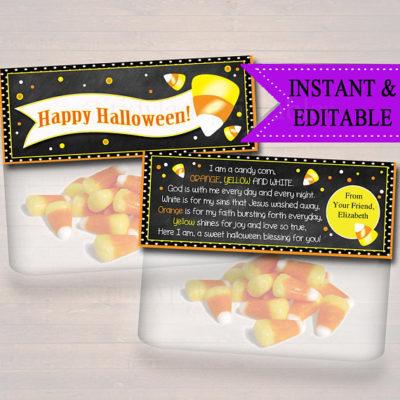 Printable Christian Halloween candy corn prayer bag toppers