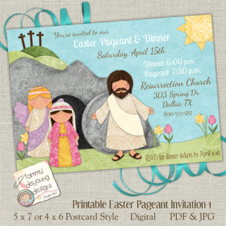 Christian Easter program party invitation downloadable