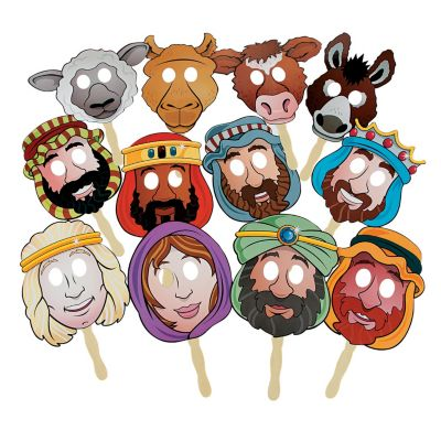 Biblical Christmas nativity masks bundle
