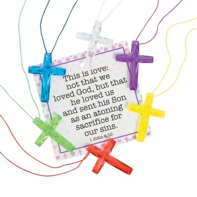 Christian cross novelty necklaces with cards