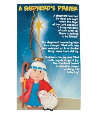 Prayer Shepherd Christmas ornaments on cards kjids