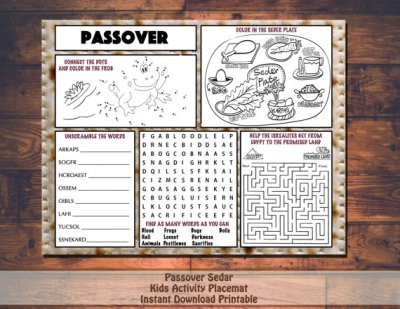 Instant Download Passover activity coloring placemats