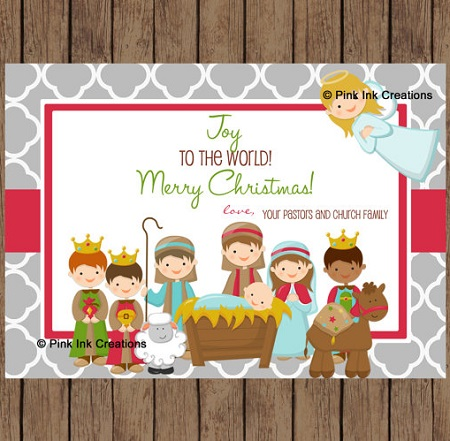 Custom Printable Kid's Nativity Christmas cards