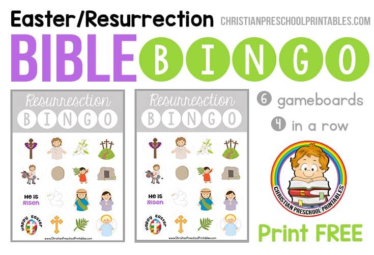 Easter Resurrection Bible Bingo Game Christian
