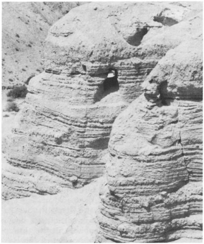 Cave 4 at Qumran (just to the left of the center of the picture).