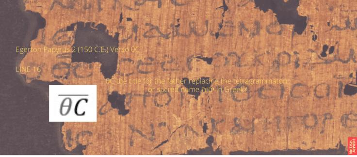 Egerton Papyrus 2 (150 C.E.) Verso θC