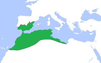 The dominion of the Almohad Caliphate at its greatest extent, c. 1200 CE