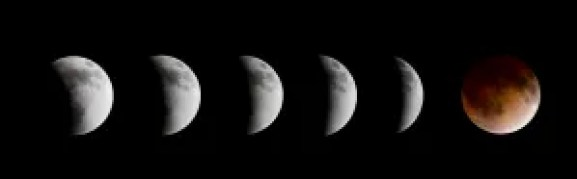 A sequential view of the lunar eclipse that occurred on April 15, 2014. You can see Earth's shadow crossing the face of the Moon, and the shadow's shape is curved because Earth is spherical.Javier Sánchez