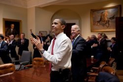 Barack Obama applauds Obamacare