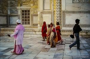 Colorful people visiting the Taj Mahal