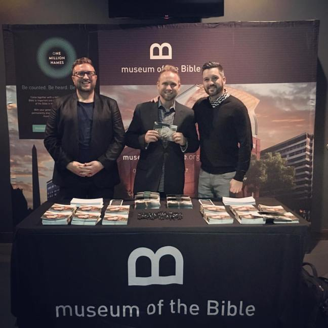 Jeremiah Johnston with MOTB representatives at Resound Church in Portland, OR