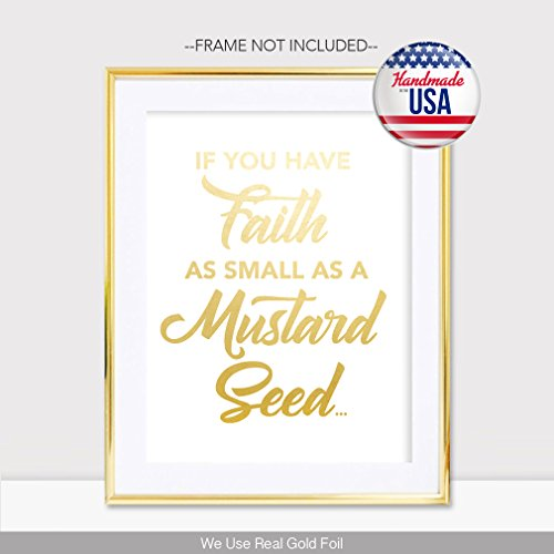 Weihnachtskarten Verse.If You Have Faith As Small A Mustard Seed Gold Foil Print Poster Home