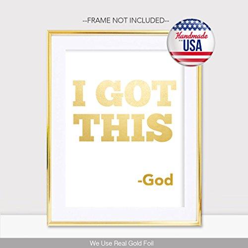 I Got This God Gold Foil Handmade Print Christian Religious Poster  Scripture Art Office Dorm Gym Verse Bible Spiritual Home Wall Decor  Inspirational ...