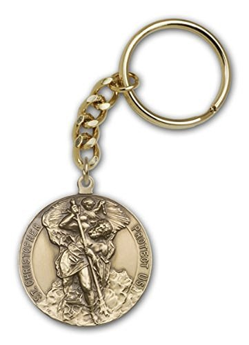 Made in USA! Men or Womens Catholic Antique Gold St. Christopher Keych b5e2478643