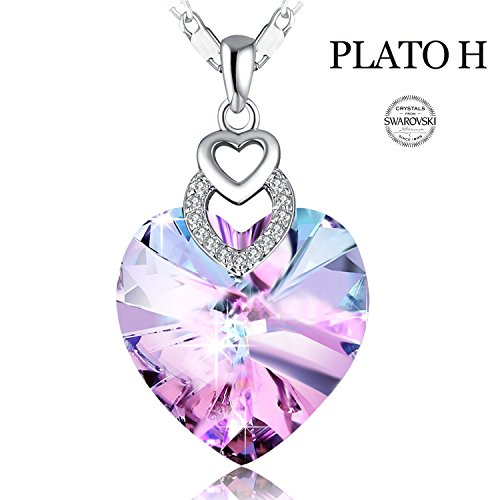 "4dd2b8dcfa5682   Gift Packaging   Heart Necklace PLATO H ""Brave Heart"" Crystal Necklace  Heart Shape Necklace Love Heart Necklace with Swarovski Crystal,Purple Ocean  Blue"