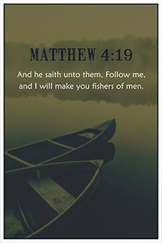 Christian Poster Bible Verse Matthew 4:19 Boats On Water | 18-Inches B