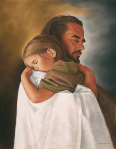 Jesus holding a little girl. Source: http://postcardstoanarcissist.wordpress.com/poems-songs-about-narcissism-and-narcissist-people/