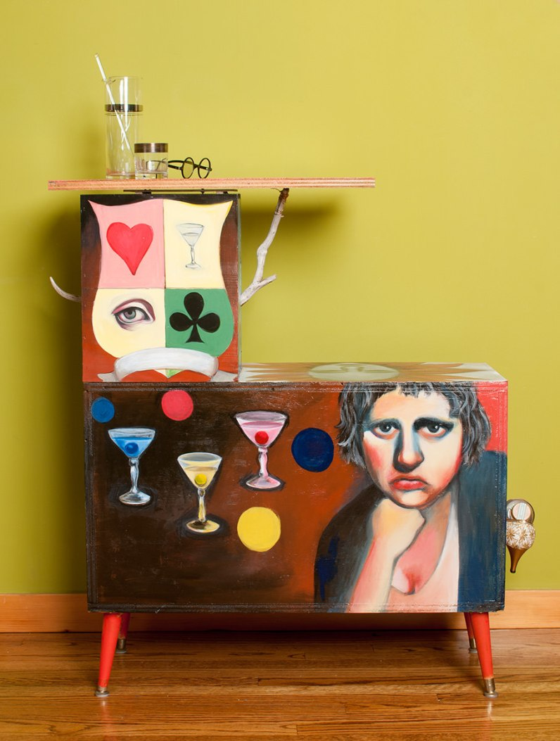 Photo of original painted mixed media work Your Bartender #2 by Christie Mellor