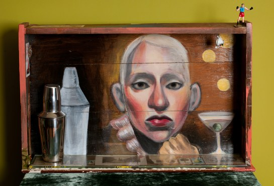 Photo of original painted mixed media work Your Bartender #5 by Christie Mellor