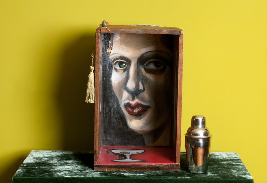 Photo of original painted mixed media work Your Bartender #9 by Christie Mellor