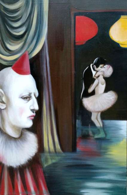painting of party-hat-wearing white-face clown watching tuxedo-clad man kissing tutu-wearing ballerina by christie mellor
