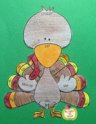 A turkey craftivity using math problems