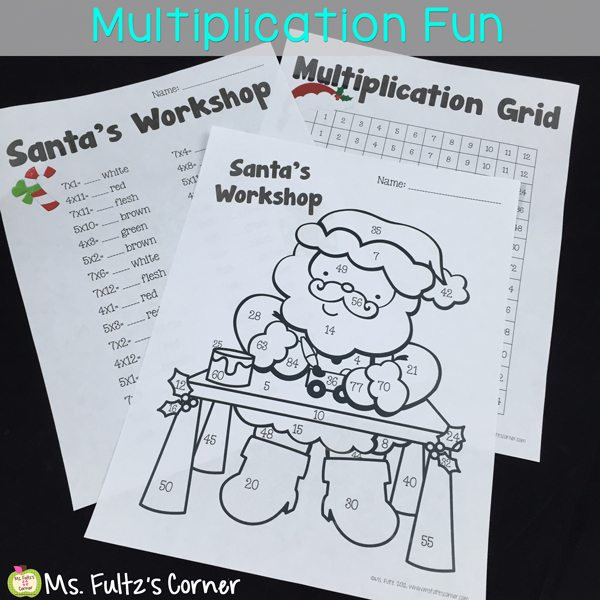 Multiplication centers and color sheets with a Christmas theme