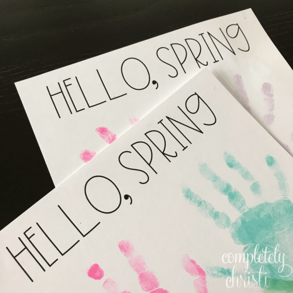 Hello Spring handprint craft