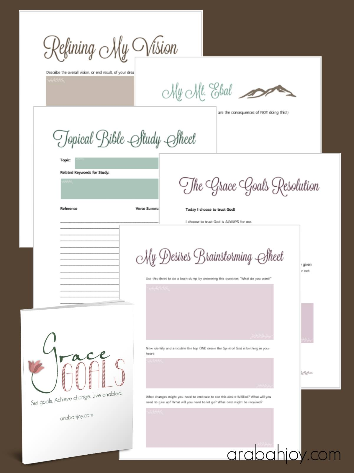 Grace Goals Worksheets Christi Gee