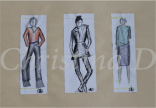 Title: Five Minute Figure Drawing, 78cm x 114cm, Water Colour and Pencil Crayon