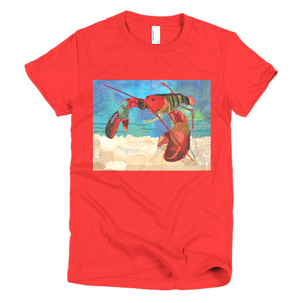 Lobster Quilt - Short sleeve women's t-shirt-Made in the USA