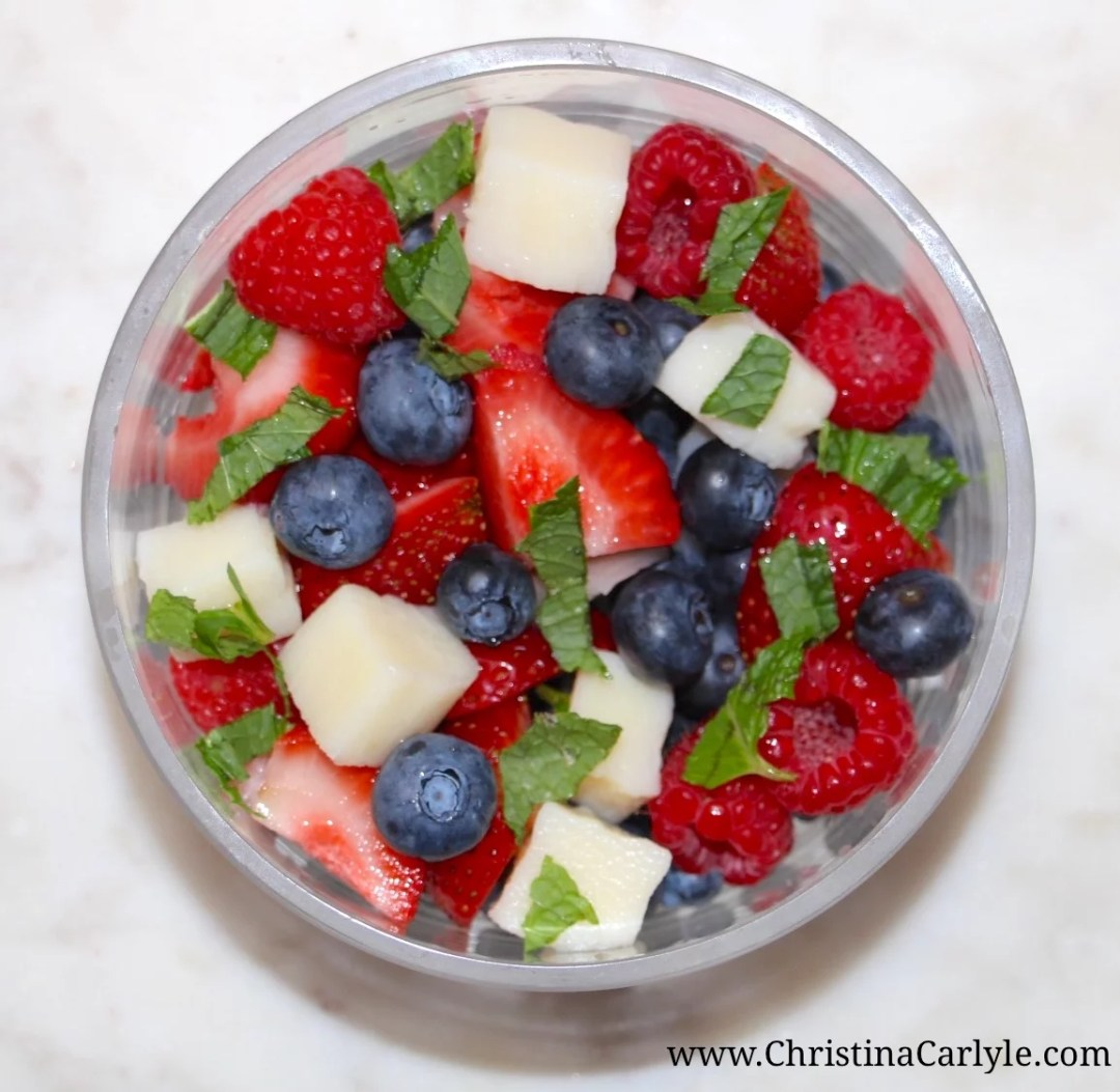 Healthy 4th of July Recipes - Red, White and Blue Berries and Hearts of Palm Salad from nutritionist Christina Carlyle. Nutritious, Delicious, and Easy Healthy 4th of July Recipes you can enjoy guilt-free. These delicious, Healthy 4th of July Recipes are high in nutrients and fiber but low in calories, fat, and sugar. https://christinacarlyle.com/healthy-4th-of-july-recipes