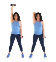 Overhead tricep extension bat wing exercise done by Christina Carlyle
