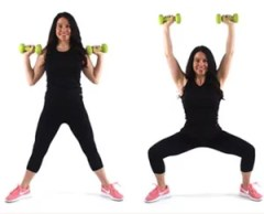 Christina Carlyle doing and overhead press plie squat fat burning exercise for women