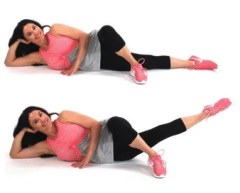 Inner thigh leg lift exercise being done by Christina Carlyle