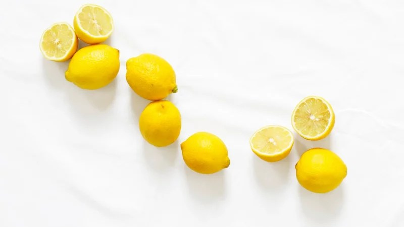 Lemon on a white tablecloth