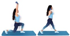 Lunge Overhead Press HIIT Exercise done by Christina Carlyle