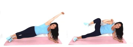 Christina Carlyle doing a side plank tuck crunch ab exercise at home