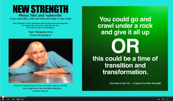 You could go and crawl under a rock and give it all up or this could be a time of transition and transformation. --Christina Cook Lee, A Quest For New Strength