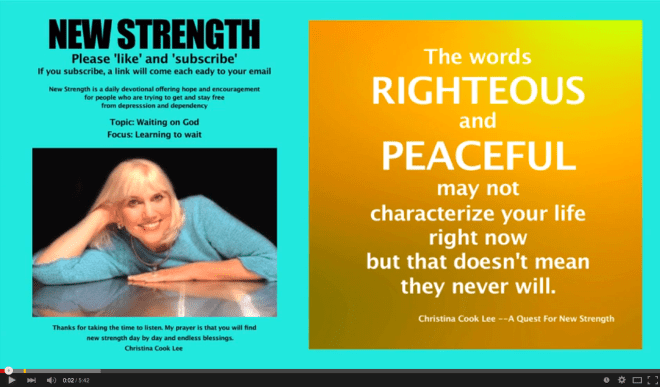 The words righteous and peaceful may not characterize your life right now, but that doesn't mean they never will. --Christina Cook Lee, A Quest For New Strength