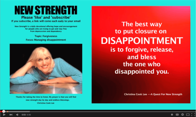 The best way to put closure on disappointment is to forgive, release and bless the one who disappointed you. --Christina Cook Lee, A Quest For New Strength