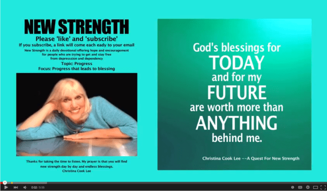 God's blessings for today and for my future are worth more than anything behind me. --Christina Cook Lee, A Quest For New Strength