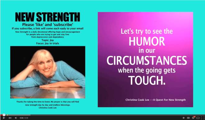 Let's try to see humor in our circumstances when the going gets tough. --Christina Cook Lee, A Quest For New Strength